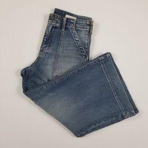 Anthro Pilcro Utility Wide Leg High Rise Jeans